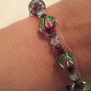 Jewelry - Christmas Glass Beaded Toggle Bracelet 7-7 1/2 New